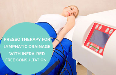 Pressotherapy for Lymphatic drainage with infra-red technology to clear toxins speed up metabolism and enhance fat mobilisation. Free Consultation